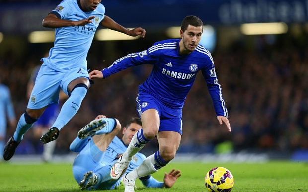 Chelsea v Manchester City - Premier League...LONDON, ENGLAND - JANUARY 31:  Eden Hazard of Chelsea breaks with the ball during the Barclays Premier League match between Chelsea and Manchester City at Stamford Bridge on January 31, 2015 in London, England.  (Photo by Clive Mason/Getty Images)
